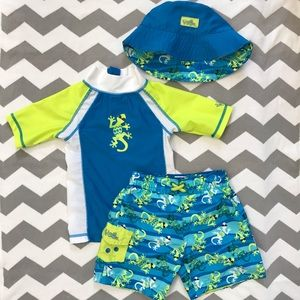c9e2f70b64 UV Skinz Swim - 🦎3 Piece Boys Swimsuit Set UV Skinz Gecko 🦎